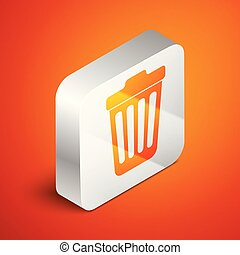 Isometric Trash can icon isolated on orange background. Garbage bin sign. Silver square button. Vector Illustration