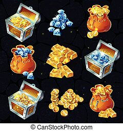 Isometric treasure elements set with chests and bags full of gold bars coins and gemstones isolated vector illustration