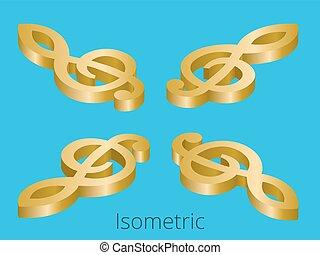 Isometric treble clef vector