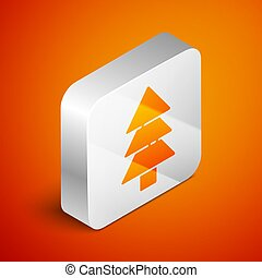 Isometric Tree icon isolated on orange background. Forest symbol. Silver square button. Vector Illustration