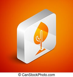 Isometric Tree icon isolated on orange background. Forest symbol. Silver square button. Vector