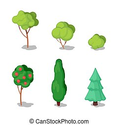 Isometric Trees. City Plants Set. Vector illustration