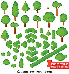 Isometric trees, hedge and bushes