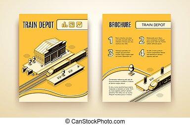 isometric, trem, vetorial, modelo, folheto, depósito