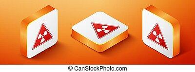 Isometric Triangle sign with radiation symbol icon isolated on orange background. Orange square button. Vector