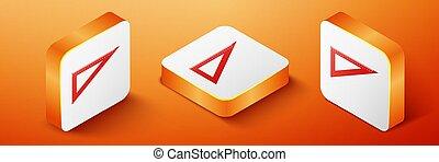 Isometric Triangular ruler icon isolated on orange background. Straightedge symbol. Geometric symbol. Orange square button. Vector