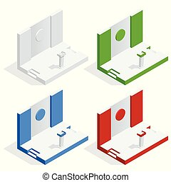 Isometric Tribune Set Vector. Podium Rostrum Stand With Microphones. Business Presentation Or Conference, Debate Speech Isolated