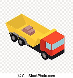 Isometric truck icon - Truck icon in isometric 3d style on...