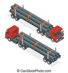 Isometric Truck tractor with flatbed trailer hauling pipe. Vector infographic element.