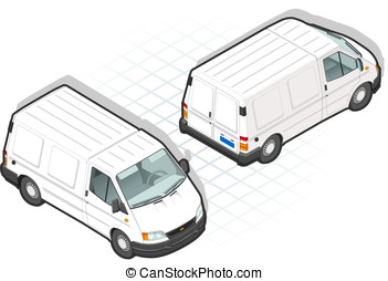isometric truck van in two position - detailed illustration...