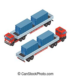 Isometric truck with sea containers