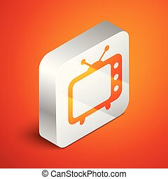 Isometric Tv icon isolated on orange background. Television sign. Silver square button. Vector Illustration