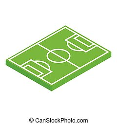 isometric, układ, 3d, pole, piłka nożna, ikona