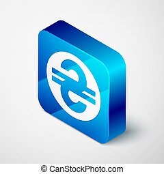 Isometric Ukrainian hryvnia icon isolated on grey background. Blue square button. Vector