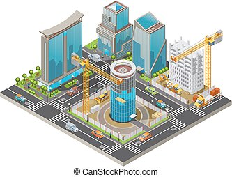 Isometric Under Construction City Concept