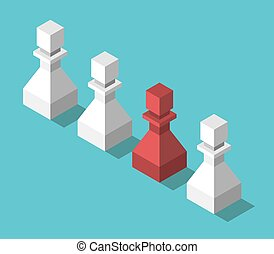 Isometric unique red pawn