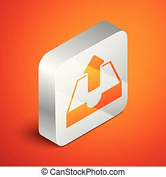 Isometric Upload inbox icon isolated on orange background. Silver square button. Vector Illustration