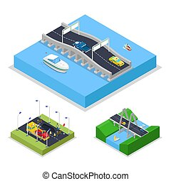 Isometric Urban Bridge Road with Cars and Boat. City Traffic. Vector flat 3d illustration