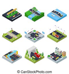Isometric Urban Infrastructure with Roads, Crossroad, Cars...