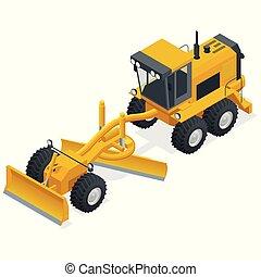 isometric, usado, manutenção, sujeira, graders, posicionado, equipamento, maquinaria construção, fundo, estradas, branca, cascalho, roads.