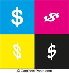 isometric, usd, illustration., pieniądze, dolary, symbol., żółty znak, waluta, vector., magenta, czarnoskóry, rzuty, label., backgrounds., biały, cyan, ikona