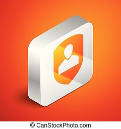 Isometric User protection icon isolated on orange background. Secure user login, password protected, personal data protection, authentication icon. Silver square button. Vector Illustration