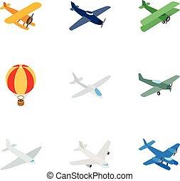isometric, veículos, ícones, estilo, transporte aéreo, 3d
