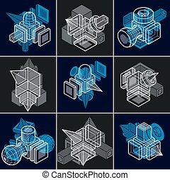 isometric, vector, abstract, verzameling, ontwerpen, bouwsector, set.