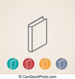 isometric, vector, boek, iconen