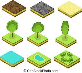 isometric, vector, bomen, communie, voor, landscape, design.