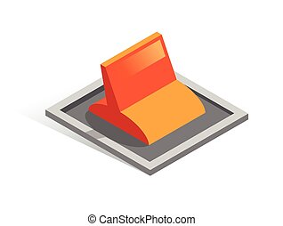 Isometric vector button. Isolated icon. Lever in gray and orange color