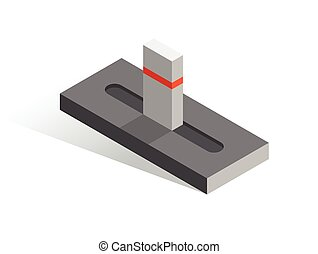 Isometric vector button. Isolated icon. Slider in gray and orange color