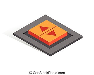 Isometric vector button. Isolated icon. Two switcher in gray and orange color