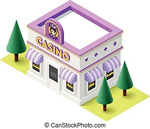 isometric, vector, casino