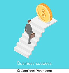 Isometric vector concept of businessman climbing the career ladder.