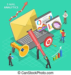 Isometric vector concept of email analytics, digital marketing analysis.