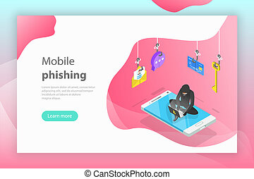 Isometric vector concept of phishing, computer virus, hacking, cyber attack.