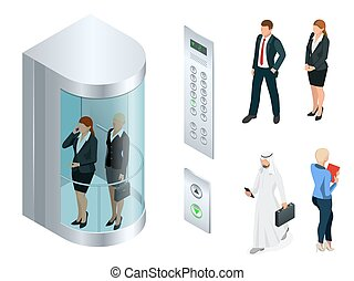 Isometric vector design of the elevator with people inside and button panel. Realistic empty elevator hall interior with close metallic lift doors