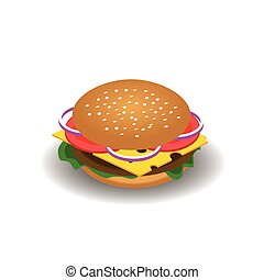 Isometric vector drawing of hamburger with cheese, tomatoes, chop, lettuce, onion, cucumber. Illustration for design fast food menu. Hamburger isolated icons. Hamburger illustration.