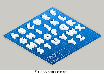 Isometric vector font alphabet on top plane