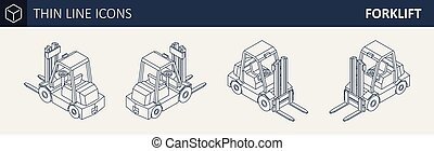 Isometric Vector Forklift Truck. - Vector Isometric Thin...