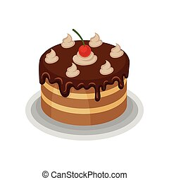 Isometric vector icon of big tasty cake with chocolate topping, whipped cream and red cherry on top. Delicious dessert