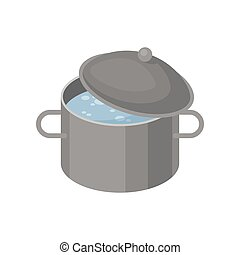 Isometric vector icon of gray metal pan with boiling water. Iron cooking pot with lid. Kitchenware theme