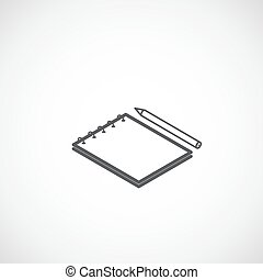 isometric vector icon of notepad and pencil