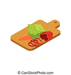 Isometric vector icon of wooden cutting board with vegetables. Fresh ingredients for vegetarian salad
