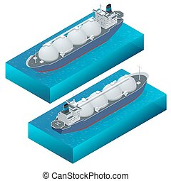 Isometric vector illustration gas tanker, flat design...