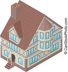 Isometric vector illustration  of Tudor style house, eps10
