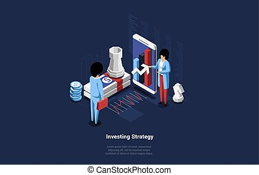 Isometric Vector Illustration In Cartoon 3D Style. Conceptual Composition On Investing Strategy Idea. Male And Female Businessmen Discussing Successful Funding Method Near Big Smartphone And Chess