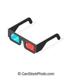 Isometric vector illustration of 3d glasses.