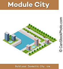 Isometric vector illustration of a modern city